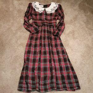 Vtg Sarah Elizabeth Plaid & Pearl Maxi Dress sz 10